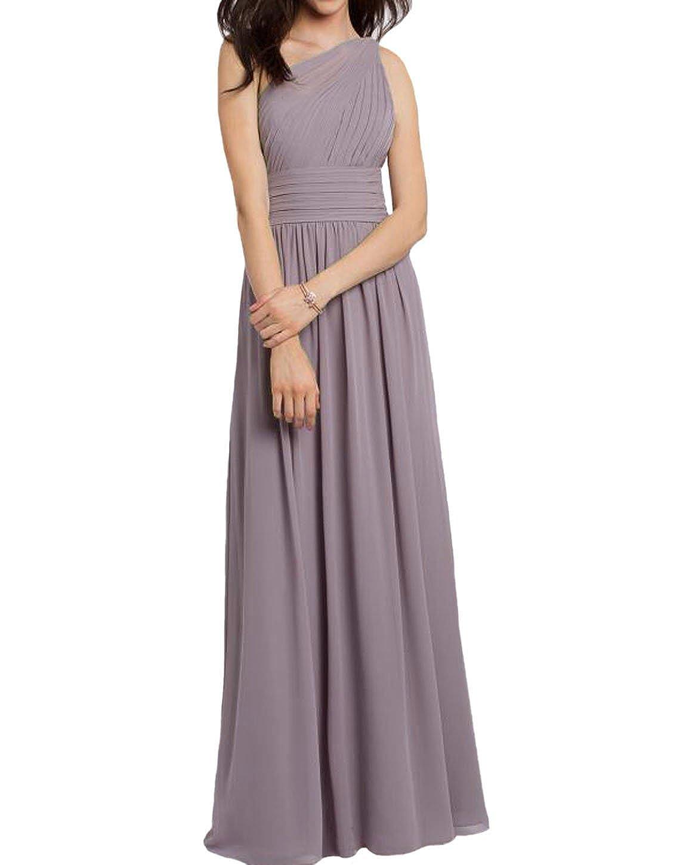 A Line Chiffon Long One Shoulder Bridesmaid Dress Simple Wedding Evening Dress