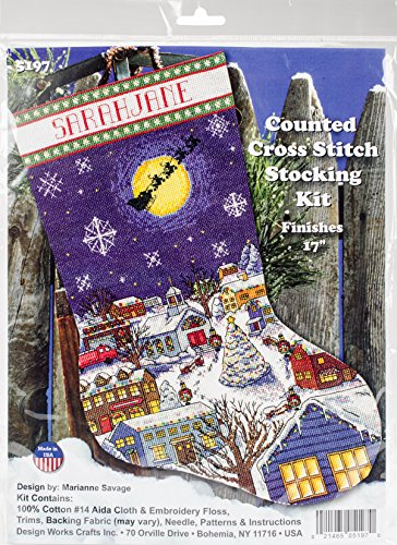 (Design Works Counted Cross Stitch Kit 17 in Stocking ~ CHRISTMAS EVE #5197)