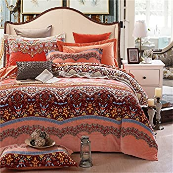 Newrara Boho Strip Bedding, Plush Velvet Warm Bed Sheets, Boho 4 Piece  Duvet Cover
