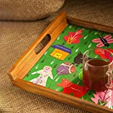 ExclusiveLane Teak Wood Applique Handwork Tray In Green -Serving Tray Platter Breakfast Tray Decorative Tray Table Top Bed Tray Tableware