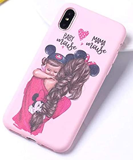 Mama Mouse Baby Mickey Soft Silicone - Phone Protective Cover Case for Apple iPhone X/Xs/MAX, XR, 11/ PRO/MAX - Women Parent Love Mother Daughter ...