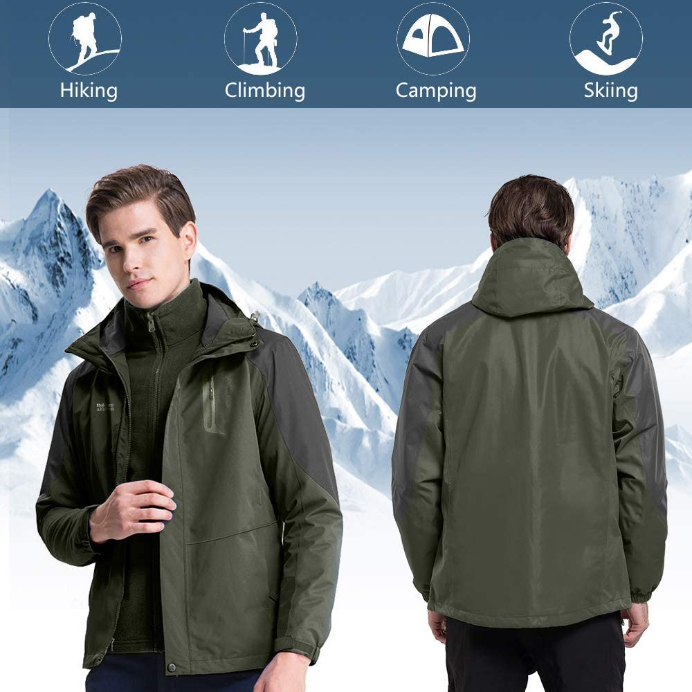 Balcony/&Falcon Mens 3 in 1 Jacket Mountain Waterproof Jackets Windproof Rain Jackets Thermal Jackets with a Thermal Liner