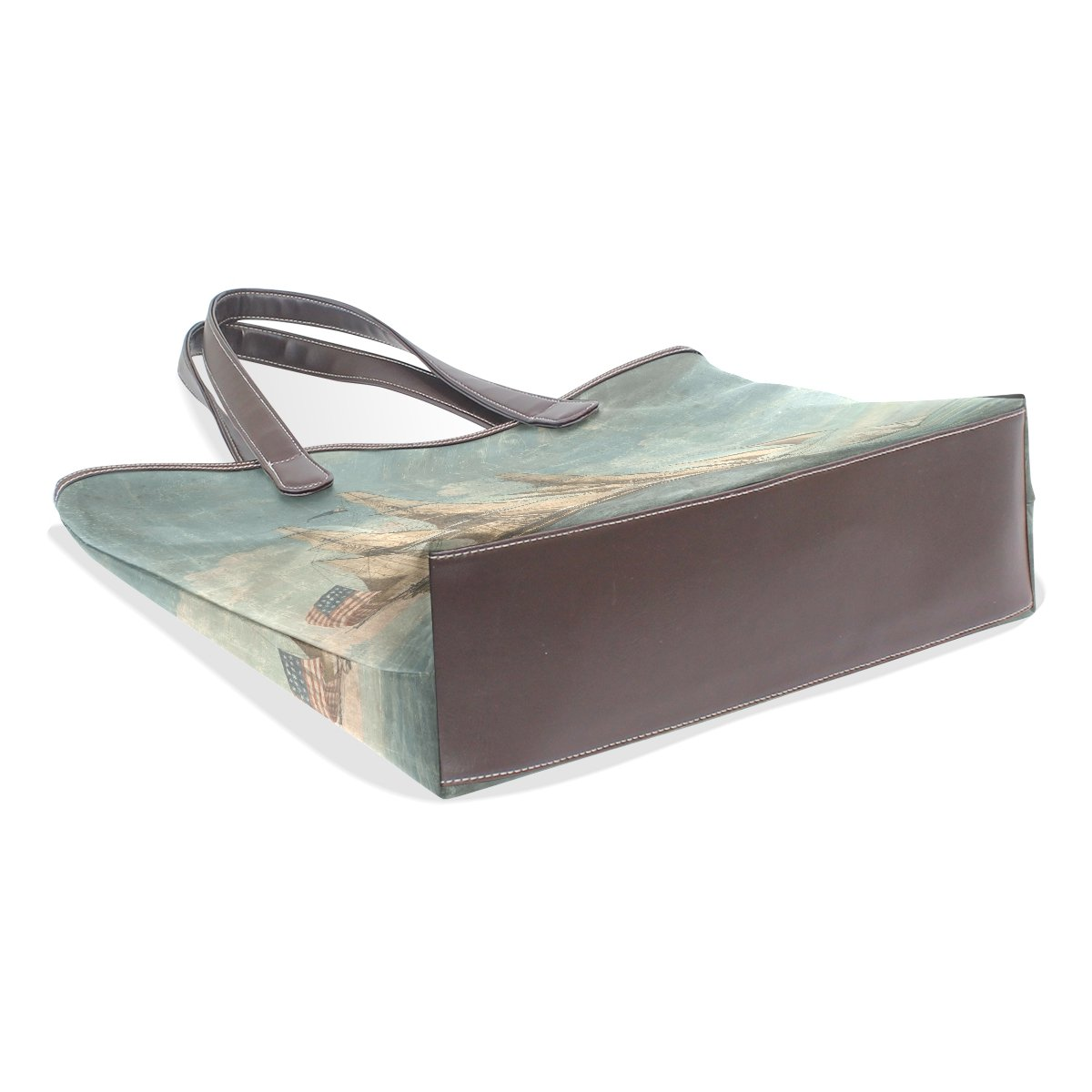 Ye Store Watercolor Pirate Ship Lady PU Leather Handbag Tote Bag Shoulder Bag Shopping Bag