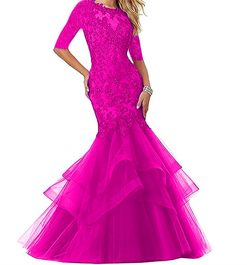 Hot Pink Dydsz Women's Long Prom Evening Dresses with Sleeves Mermaid Formal Party Gowns D265