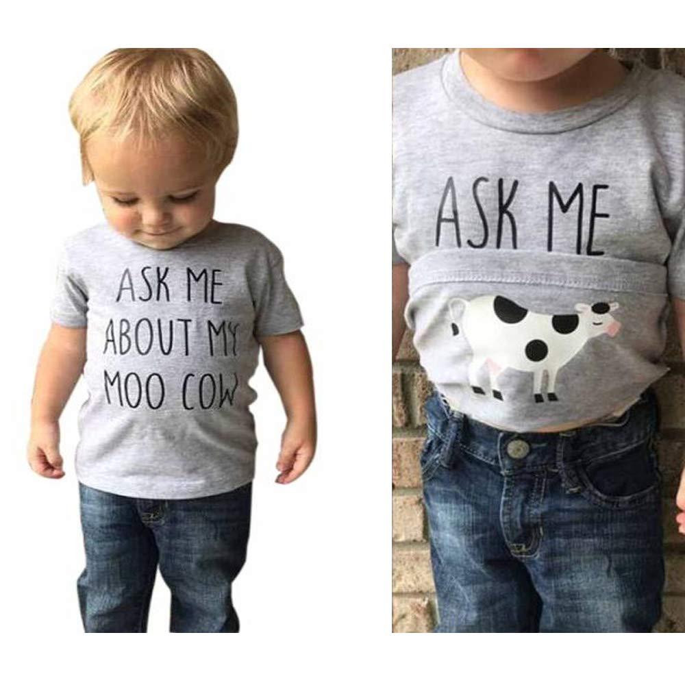 Transer- Cow Inside Letter Print Short Sleeve T-Shirt Tee Shirt Tops for Infant Toddler Kids Baby Boys Girls Age 1-5