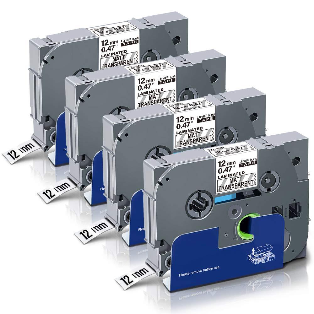 UniPlus 4x Tze-335 Tze335 Tze Tape 12 mm Nastro Laminato Bianco su Nero Nastri per Etichette Compatibile per Brother P-Touch Cube PT 1000 H100LB H101C P700 E100 D600VP D400VP D400 1005 H107 12mm x 8m
