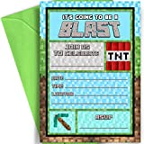 Pixel Party Invitations | 12 Invitations Matching Green Envelopes | Pixel Birthday Party Fill in Invites