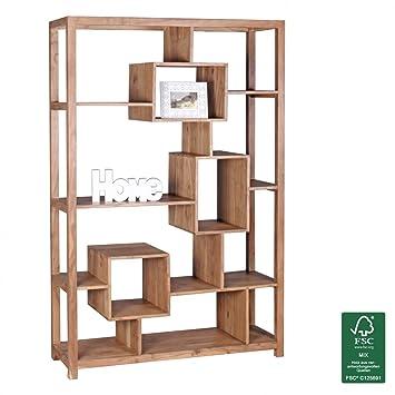 WOHNLING Bücherregal Massiv Holz Akazie 115 X 180 Cm Wohnzimmer Regal  Ablagefächer Design: