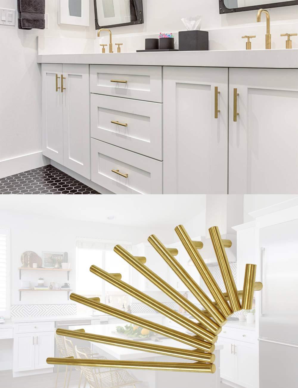 PinLin Tiradores de puerta de cocina dorado lat/ón dorado, acero inoxidable, incluye tornillos