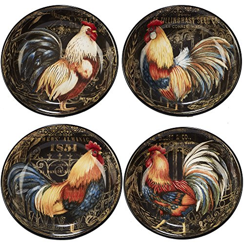 Certified International Gilded Rooster Set/4 Soup/Pasta Bowl 9.25