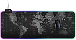 "RGB Gaming Mouse Pad, JR INTL Large Cool RGB Gaming Mouse Mat with Nylon Thread Stitched Edges & Smoothly Waterproof Non-Slip Rubber Base (31.5""X 11.8"")"