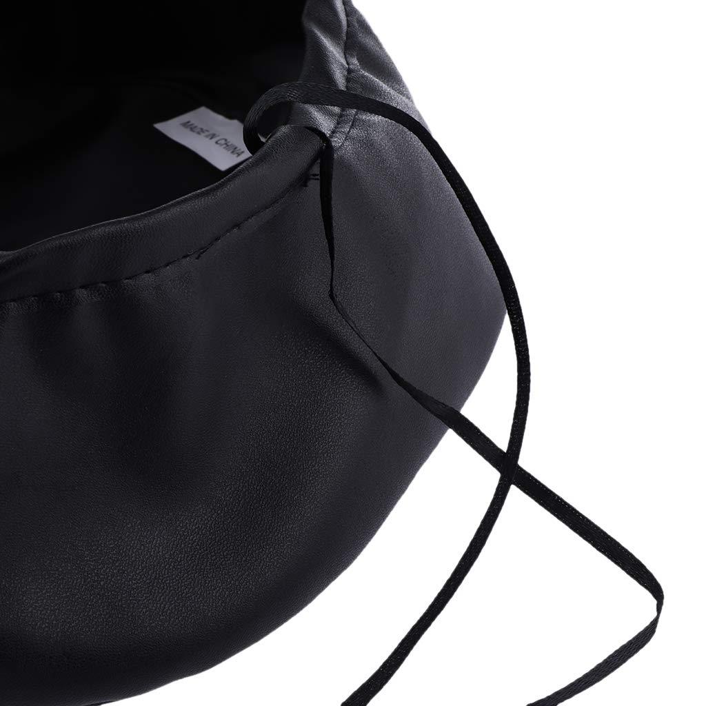 4aa40fcf4682f Baoblaze Sombrero Boina de Mujer Estilo Francés Artista Gorro de Cuero PU  Ajustable Elegante - Negro