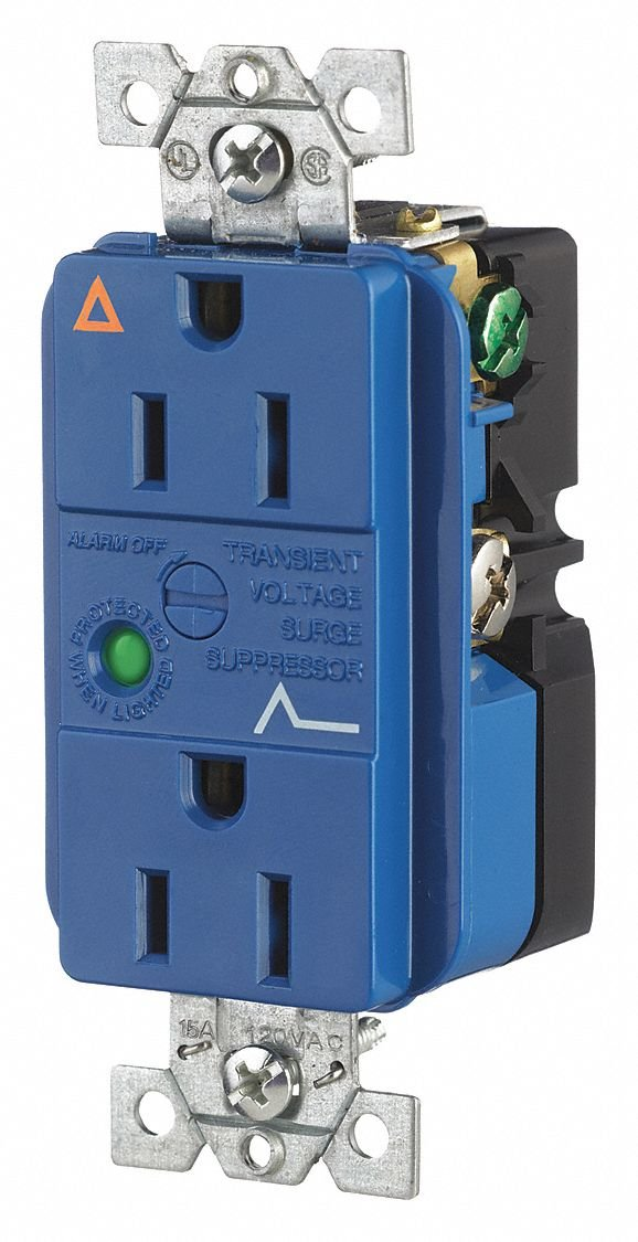 15A Commercial Environments Isolated Ground Receptacle, Blue; Tamper Resistant: No