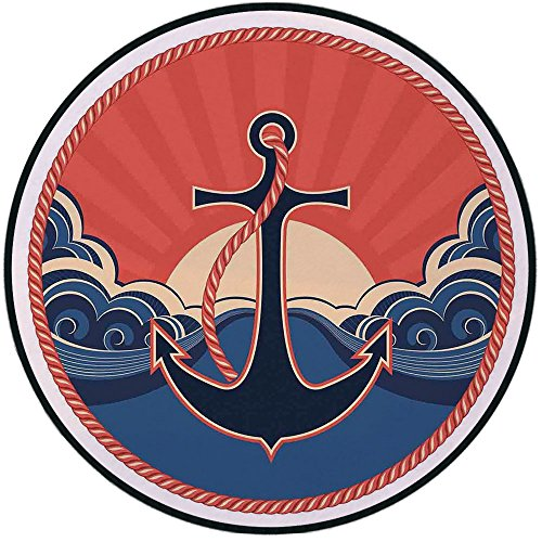 Printing Round Rug,Anchor Decor,Navy Label with Robe and Sea Waves at Sunset Anchor Retro Sailing Aquatic Life Icons Mat Non-Slip Soft Entrance Mat Door Floor Rug Area Rug For Chair - Chenille Soft Robe