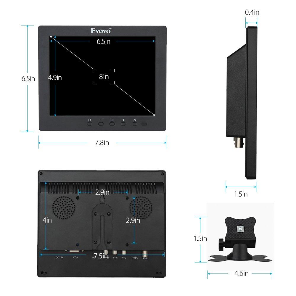 Eyoyo S801C 8 Inch Small HDMI BNC VGA Monitor LCD Screen 1024x768 4:3 Display Ypbpr Input Support Powerbank 5V Input by Eyoyo (Image #5)