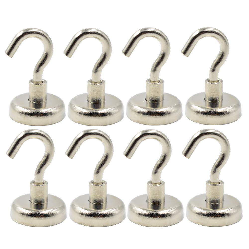25mm Magnetic Hooks Powerful 48 LBS Heavy Duty Neodymium Magnets, Super Strong Magnet Hooks 0.98'' Diameter, Indoor Outdoor Hook Magnets Hanging, Pack of 8 pcs by Xhigh