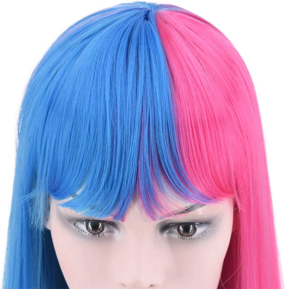 FOTBIMK Peluca media rosa azul mitad peluca sexy de moda ...
