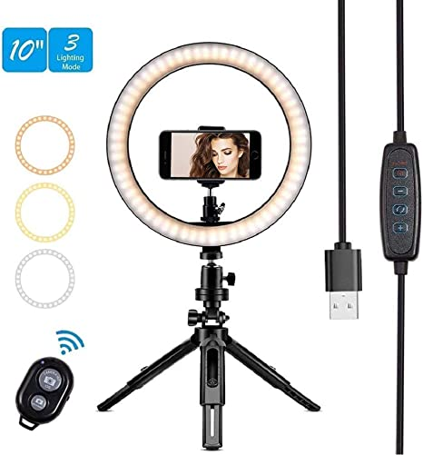 Dimmable Ring Light Ring Light Set 8 Inch Dimmable LED Ring Fill Light USB Camera Video Lamp with Tripod Phone Clip Set for Makeup