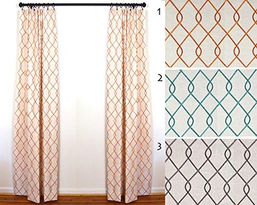 Custom Curtains, Draperies by the Pair Duralle Rico Papaya