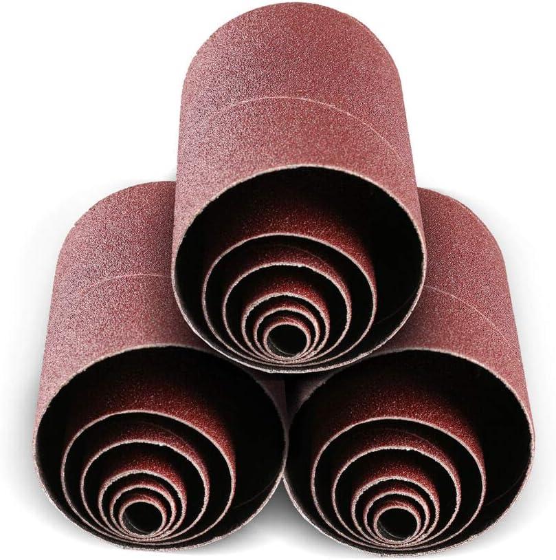 "Aluminum Oxide Spindle Sanding Sleeves, 4.5 Inch Length 1/2"", 3/4"", 1"", 1.5"", 2"", 3""6 Diameters, 80/120/240 Assorted Grit (18 Pack) 61SCRpLWLEL"
