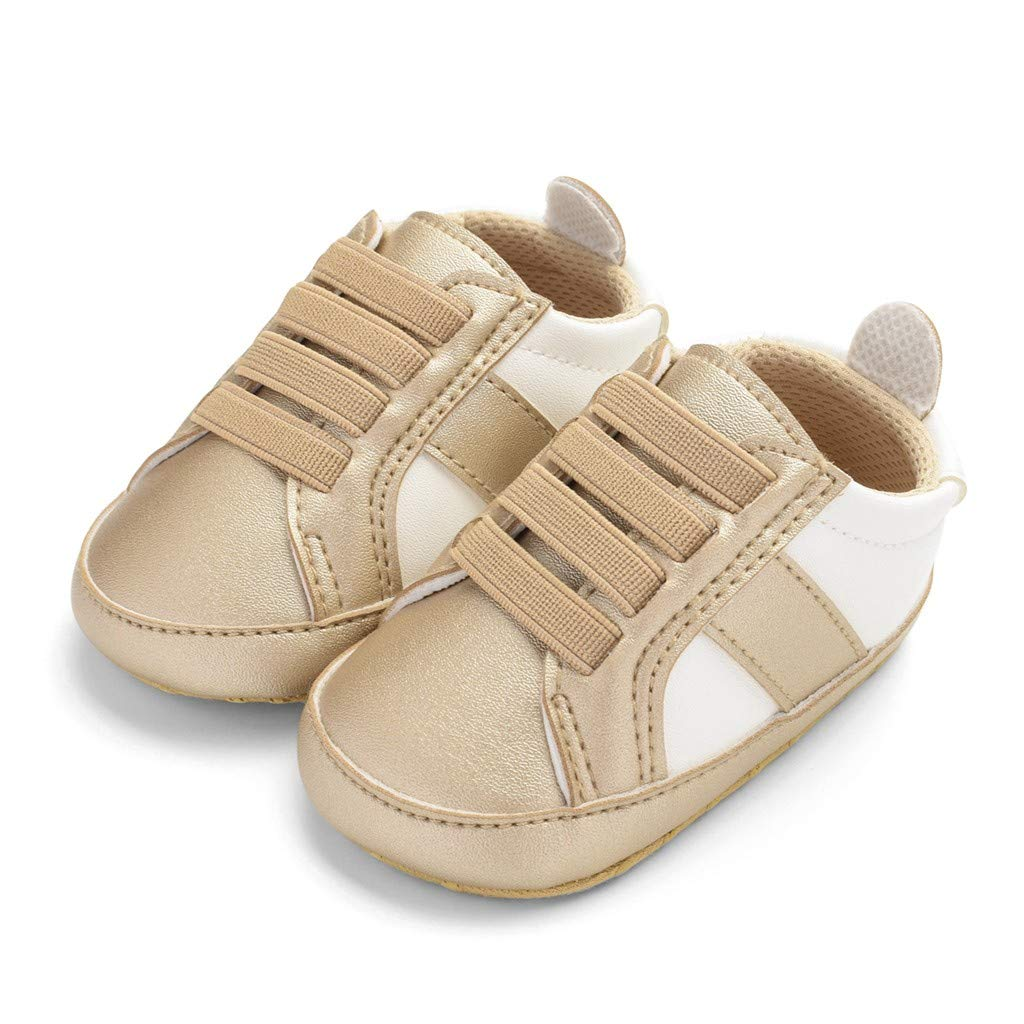 Infant Newborn Toddler Lace Up Soft Sole Baby Boy Girls Leather Crib Shoes