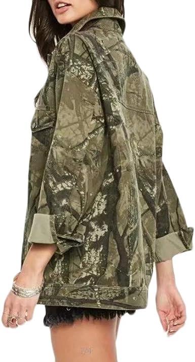 Rovinci_Mujeres cálido Grueso Leopardo impresión Abrigo Camuflaje Cowboy fácil Chaqueta cárdigan botón Calle Estilo Novio Top Camisas: Amazon.es: Ropa y accesorios