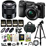 Sony Alpha a6000 Mirrorless Camera w/16-50mm & 50mm Lens & 32GB SD 4-Pack Card Bundle