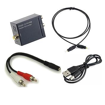 Adaptador conversor de audio estéreo digital óptico coaxial a analógico L/R con cable óptico