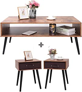 IWELL Mid-Century Coffee Table & Nightstand Bundle, 2 Piece Furniture for Living Room, Nightstand Set of 2, TV Console, Office Sofa Table, Cocktail Table