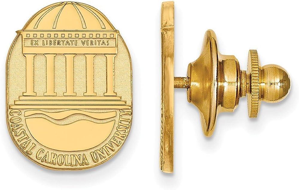 11mm x 15mm Solid 14k Yellow Gold Coastal Carolina University Crest Lapel Pin