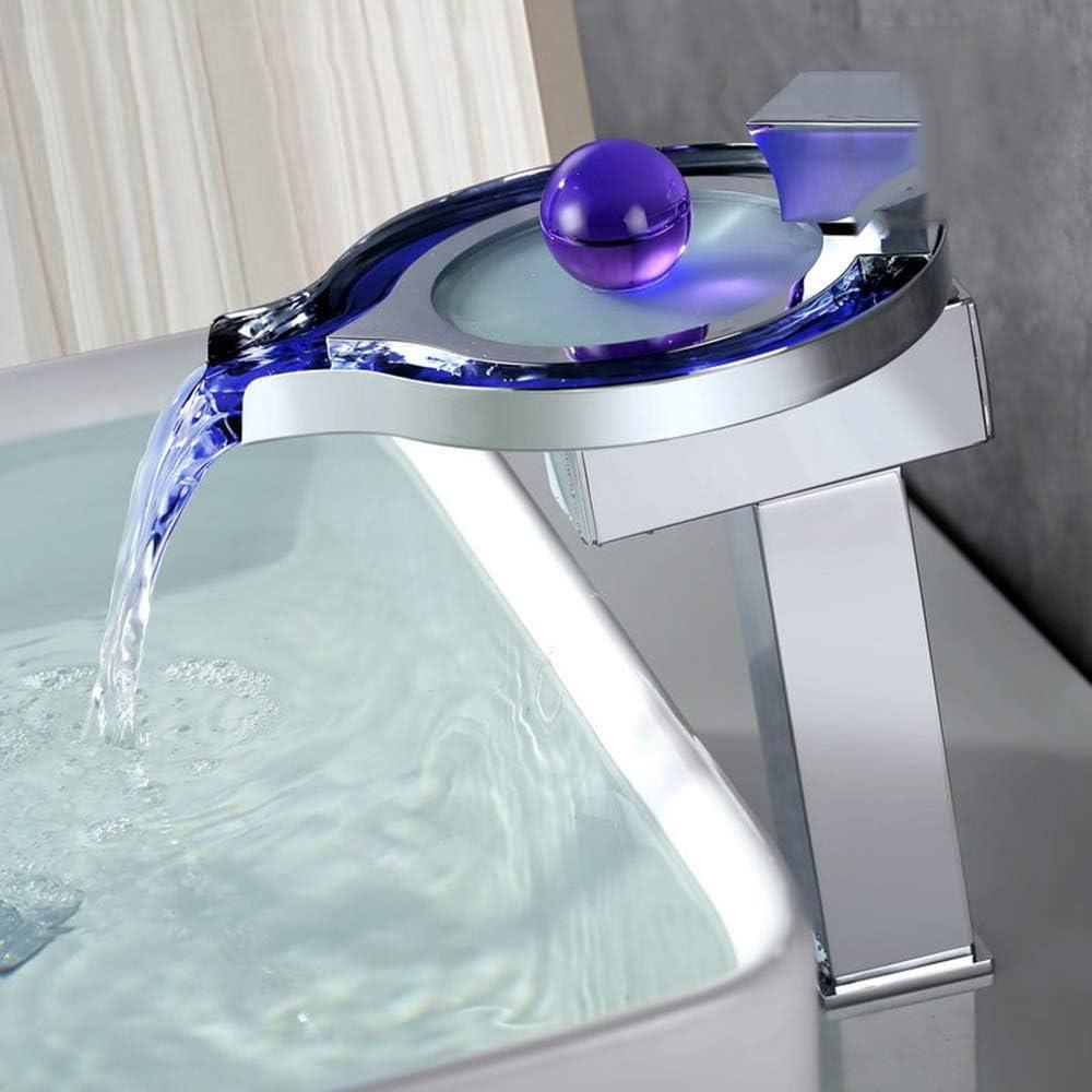 KJRJSLT Cuarto de baño moderno de lujo LED grifo del fregadero, la cascada de un solo orificio Grifo, sin batería, cambio de colores basado en la temperatura del agua, cromo