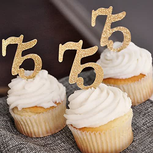 """Amazon.com: 75th Birthday Party Decor.75"""" Cupcake Toppers ..."""