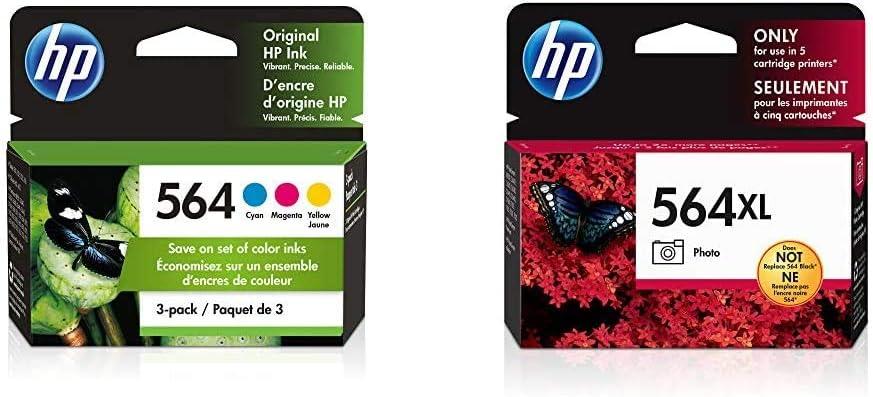 HP 564 | 3 Ink Cartridges | Cyan, Magenta, Yellow | CB318WN, CB319WN, CB320WN & 564XL | Ink Cartridge | Photo | CB322WN