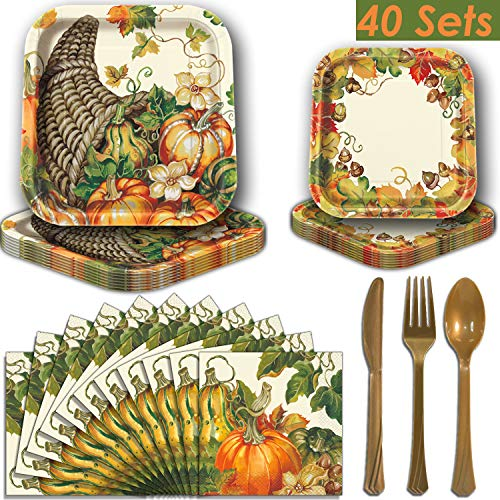 (Fall Harvest Square Party Supplies for 40 - Dinner Plates, Dessert Plates, Luncheon Napkins, Gold Plastic Cutlery (Premier Strength). Thanksgiving and Autumn Theme Dinnerware)