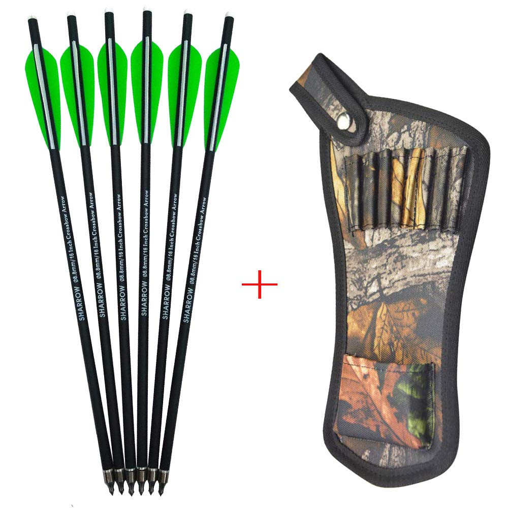 AMEYXGS 12pcs Crossbow Bolts Arrows Carbon Shafts Crossbow Arrows 16'' 17'' 18'' 20'' 22'' Hunting Practice Arrows with Arrow Quiver (Green, 17inch) by AMEYXGS