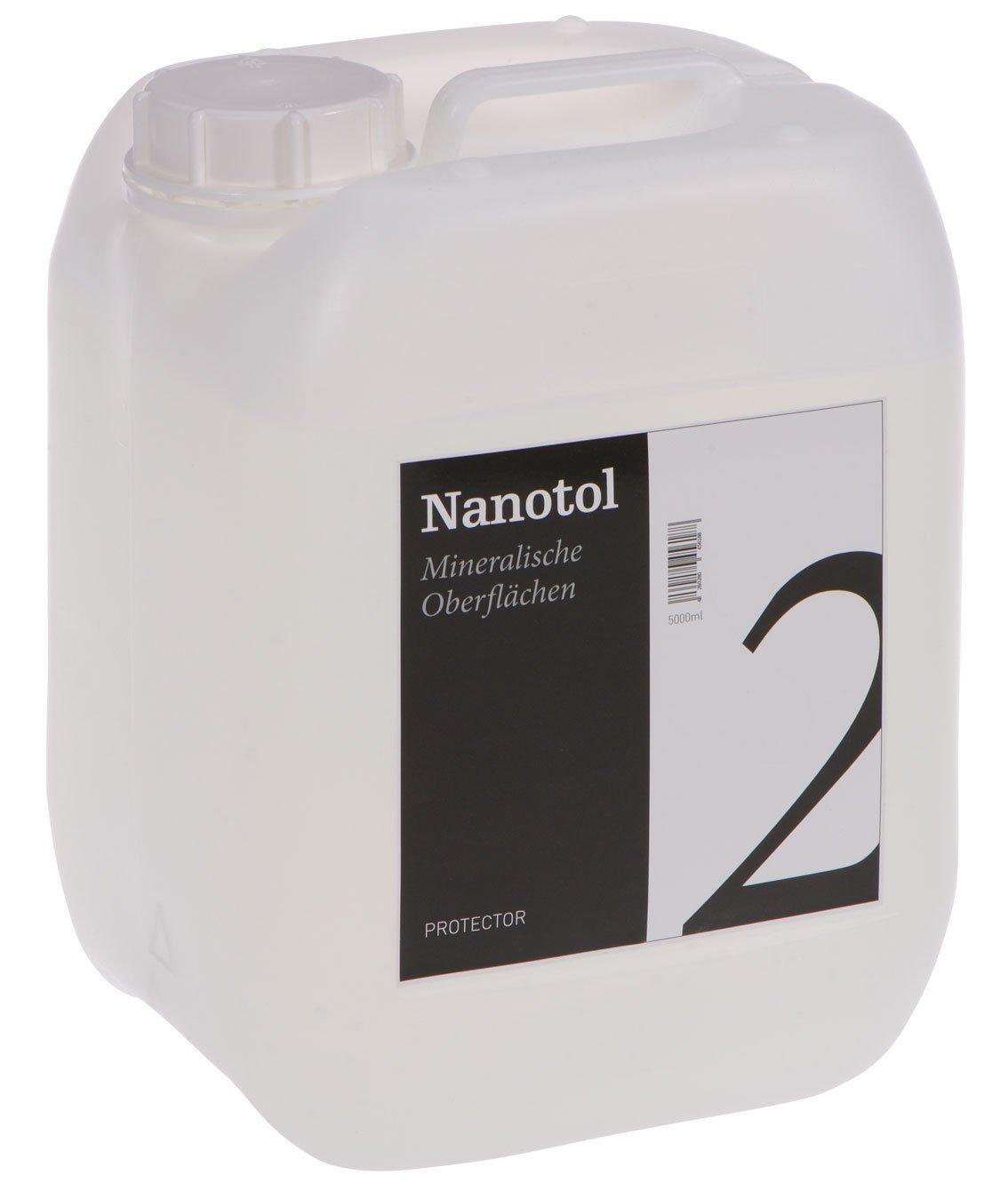 Nanotol Protector, prodotto per la protezione di pietre poste all'esterno e all'interno, per superfici minerali con effetto loto, sigillatura con nanoparticelle per pietre naturali, piastrelle, granito, cemento, pavimentazione in pietra o mattoni [etichett