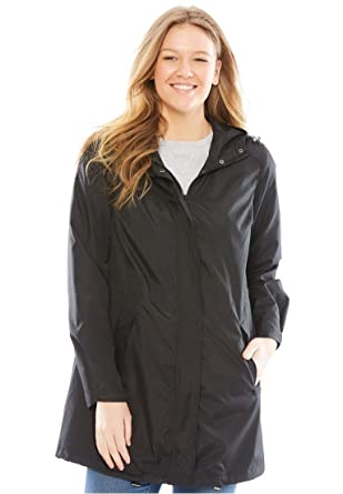 befc769a888 Amazon.com  Woman Within Plus Size Packable Anorak Raincoat - Black ...
