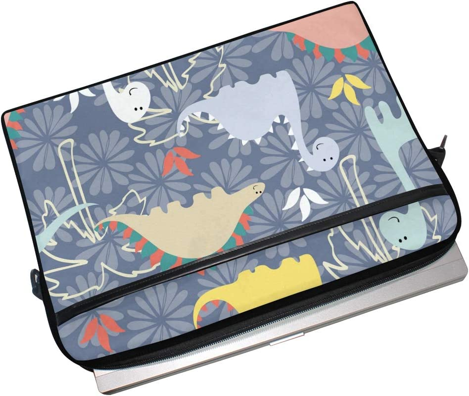 Forest Dinosaur Pattern Laptop Shoulder Messenger Bag Computer Briefcase Business Notebook Sleeve Cover Carrying Handle Bag for 14 inch to 15 inch