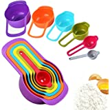 Measuring Cup and Spoon Set - Stackable Colorful Plastic for Kitchen Baking tools(6pcs Random Color)
