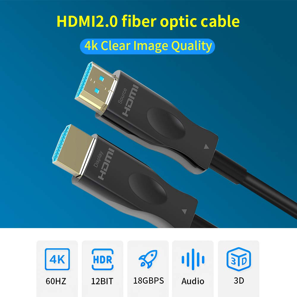 Dolby Vision ARC 4K Fiber Optic HDMI Cable Supports 4K@60Hz High Speed 18Gbps 33ft, Silver 4:4:4//4:2:2//4:2:0 Slim and Flexible Active HDMI Cable HDCP2.2 3D HDR