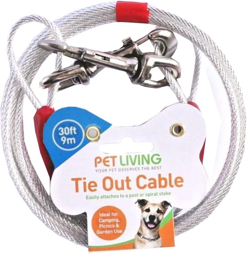Pet Living TIE OUT CABLE FOR DOGS STEEL STRONG CABLE CAMPING PICNIC GARDENING CABLE STRONG WIRE SILVER COLOUR AVAILABLE IN 10 20 30 FEET 30 FEET 9 METER