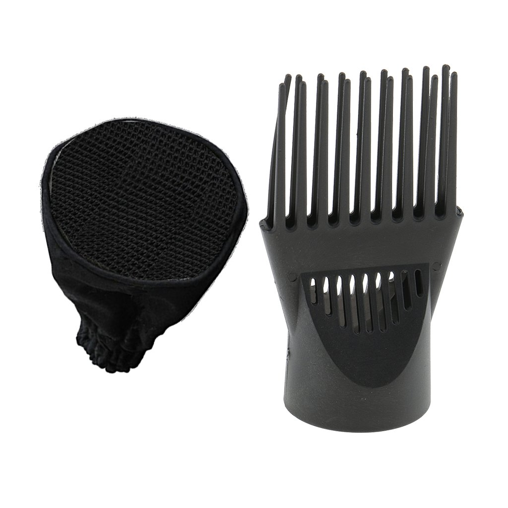 MagiDeal Universal Curly Wavy Hair Dryer Sock Diffuser Wind Blower Attachment Cover + Straight Hair Wind Blower Comb Nozzle Black non-brand