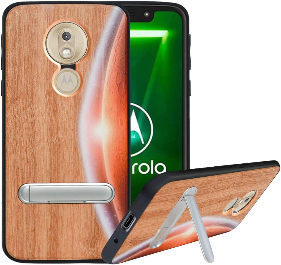 HHDY Compatible with Motorola Moto G7 Power Case,Wood Case for Moto G7 Supra,Moto G7 Optimo Maxx Case with Metal Kickstand,Hard Natural Wood Back,TPU Bumper,Wooden Cover for Moto G7 Power,Moon