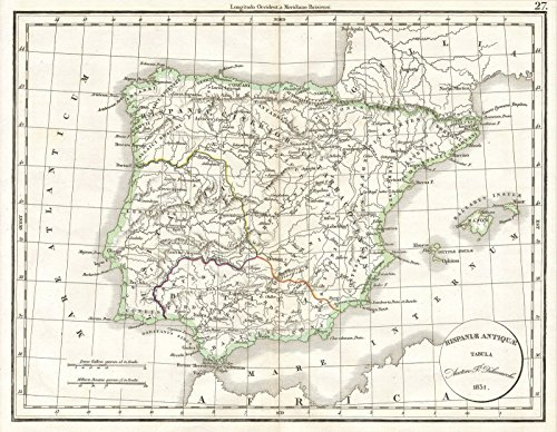 - Historic Map | Delamarche Map of Spain and Portugal Under The Roman Empire, 1832 | Historical Antique Vintage Decor Poster Wall Art | 18in x 24in