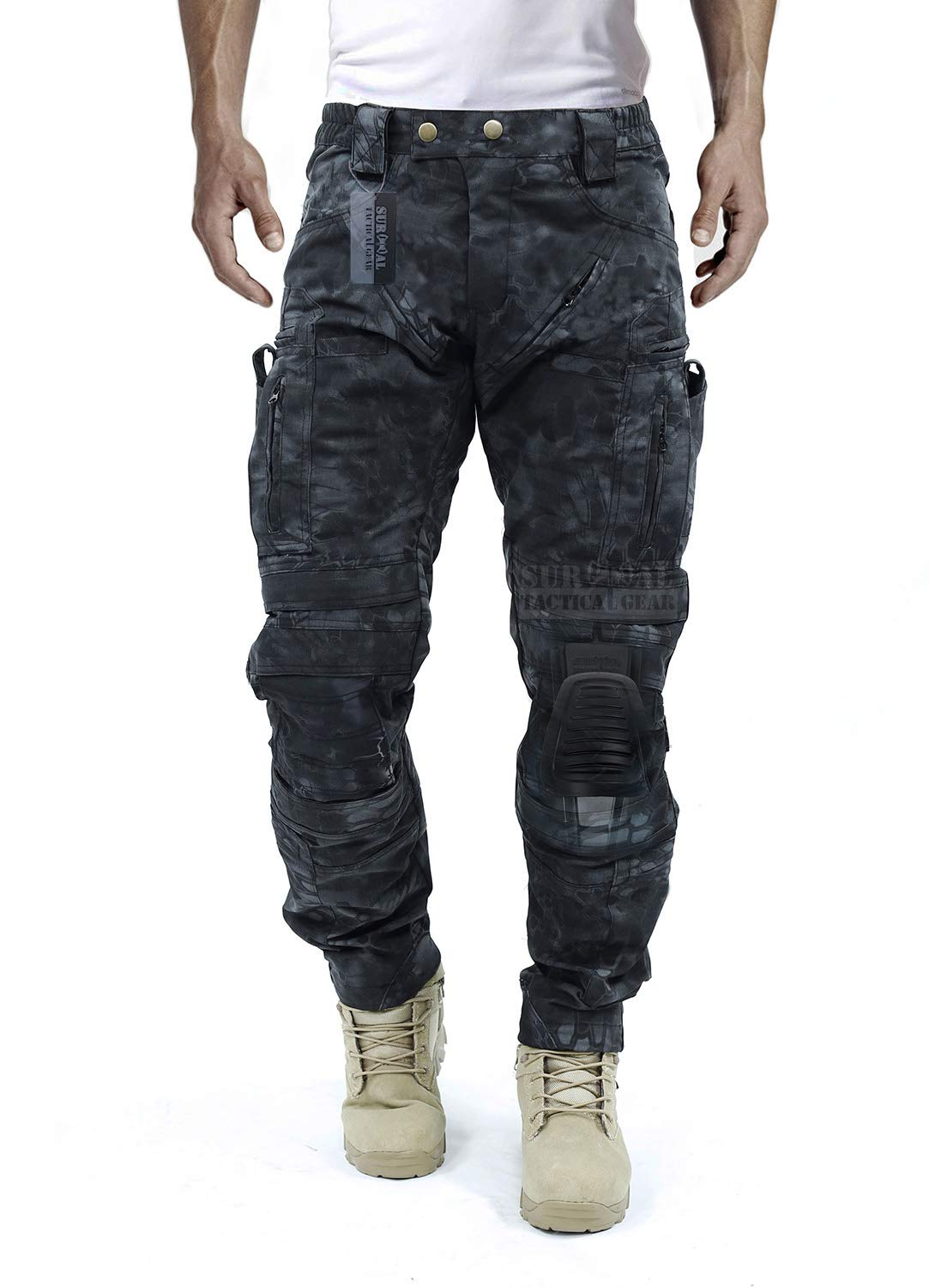 Survival Tactical Gear Men's Airsoft Wargame Tactical Pants with Knee Protection System & Air Circulation System (Typhon Pattern, L) by Survival Tactical Gear