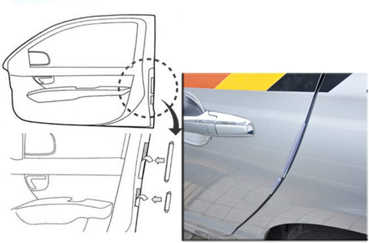 Tree-on-Life 8pcs Car SUV Side Door Edge Protector Protective Strip Scrape Guard Bumper Guards Handle Cover Black White Transparent