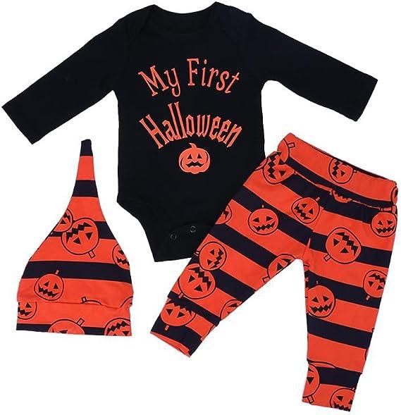 Borlai Baby Jungen Mädchen Bekleidungssets Strampler + Hose + Hut, My First Halloween Kinder Langarm Halloween Kostüm, 0 18 Monate