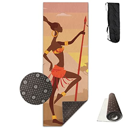 Unisex Fitness Yoga Mat African Woman With Spear Unique Non-Slip Pattern Towels,Pilates