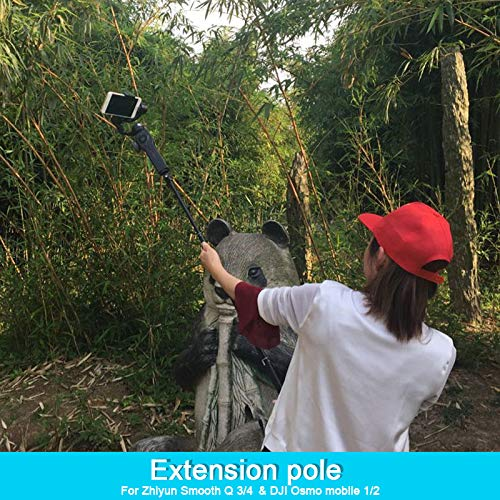(Aluminum Alloy Extension Pole Bar Telescopic Rod for Zhiyun Smooth Q 3/4 SPG DJI Osmo Mobile 1/2 Handheld Gimbal Accessories)