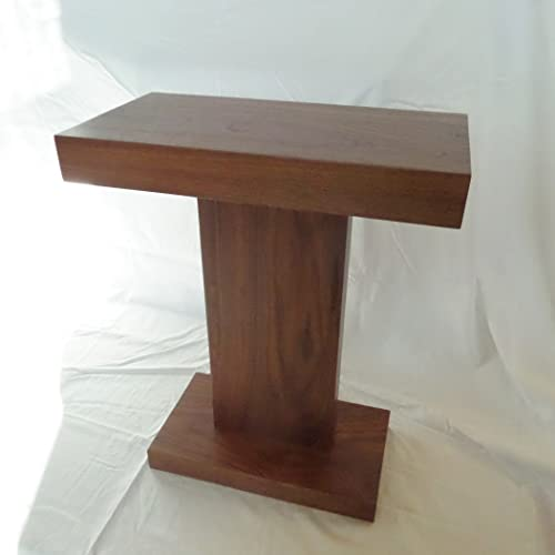 Single Leg Walnut End Table